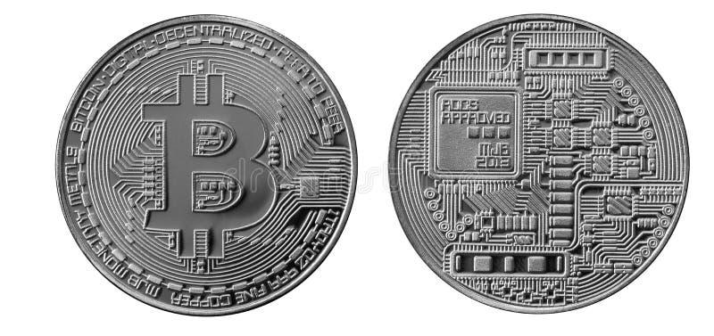 Bitcoins 物理位硬币 数字式货币 Cryptocurrency采矿概念 在白色b与bitcoin标志的两枚硬币隔绝的 免版税图库摄影