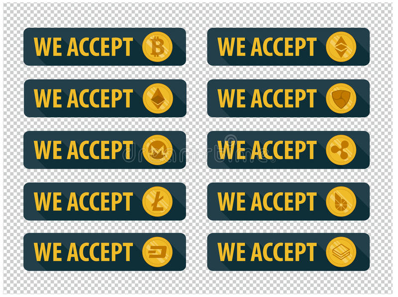 Bitcoins are accepted here. Icons in a flat style stock illustration
