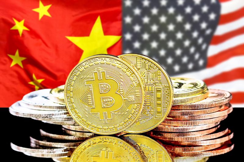 Bitcoins on american and China flag background royalty free stock image