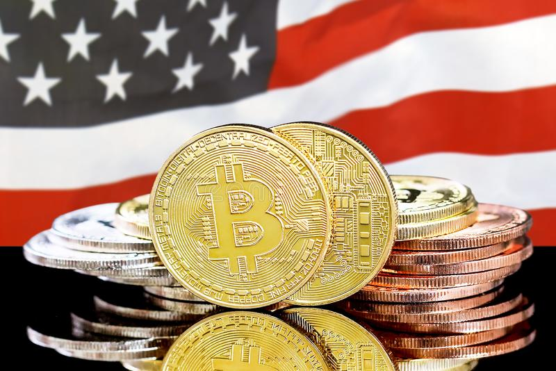 Bitcoins on american flag background stock photography