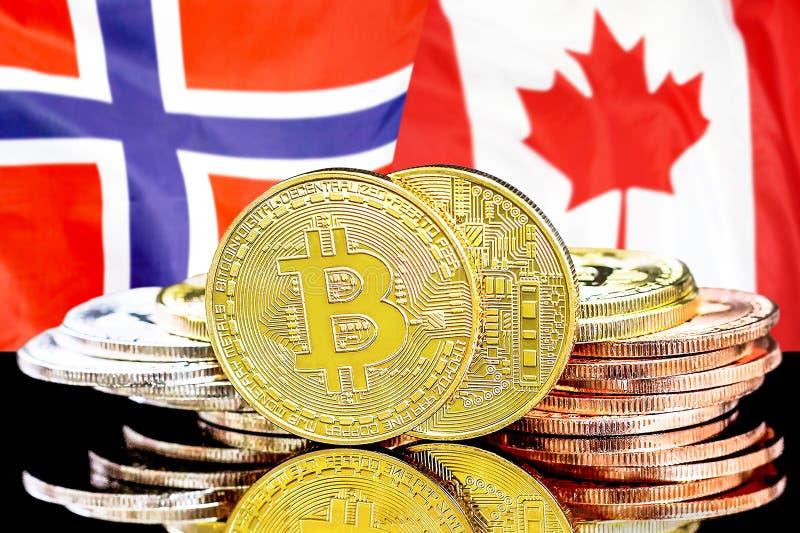 Bitcoins auf Norwegen- und Kanada-Flagge Hintergrund lizenzfreie stockfotos