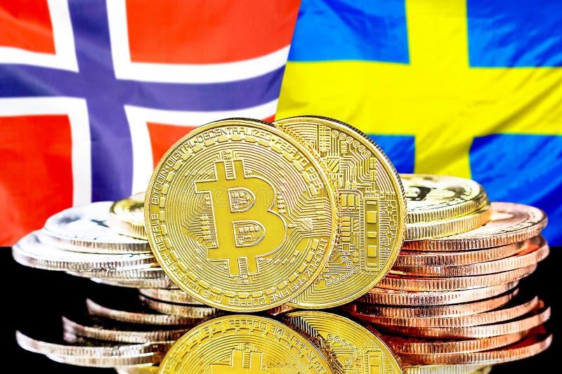 Bitcoins auf Norwegen- und Schweden-Flagge Hintergrund stockfoto