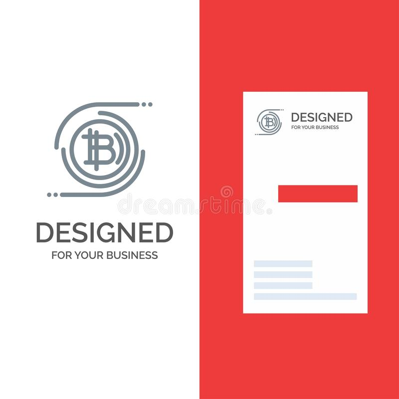 Bitcoins, Bitcoin, Block chain, Crypto currency, Decentralized Grey Logo Design and Business Card Template royalty free illustration