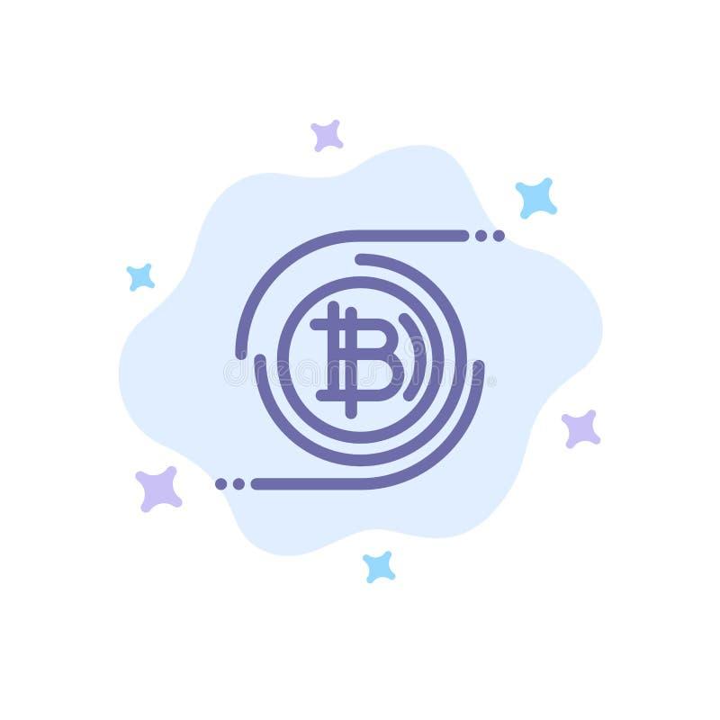 Bitcoins Bitcoin, kvarterkedja, Crypto valuta, decentraliserad blå symbol på abstrakt molnbakgrund royaltyfri illustrationer