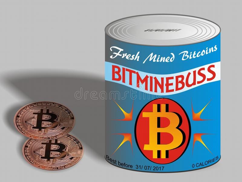 Bitcoins Bitcoins recientemente minado en lata libre illustration
