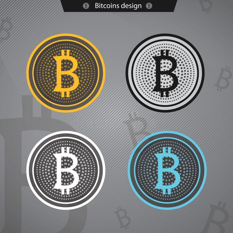 Bitcoins business crypto mining . Vector Gold royalty free illustration
