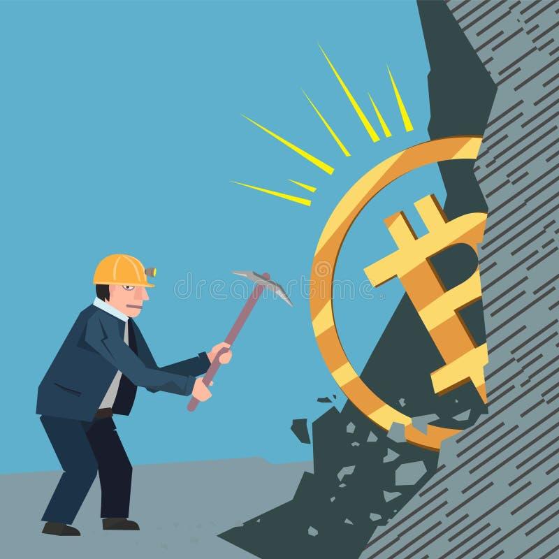 Bitcoins conceptuales del ejemplo del negocio stock de ilustración