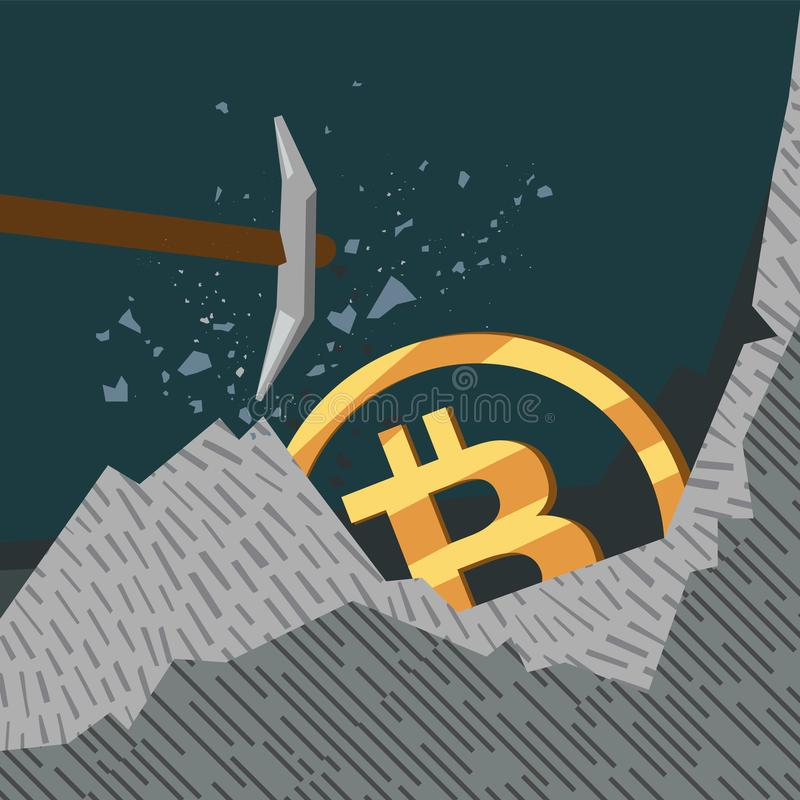 Bitcoins conceptuels d'illustration d'affaires illustration stock