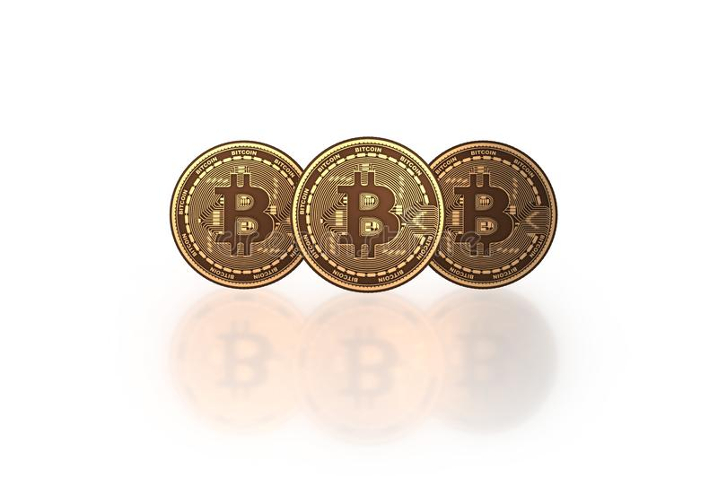 The bitcoins in cryptocurrency blockchain concept - 3d rendering. Bitcoins in cryptocurrency blockchain concept - 3d rendering stock illustration