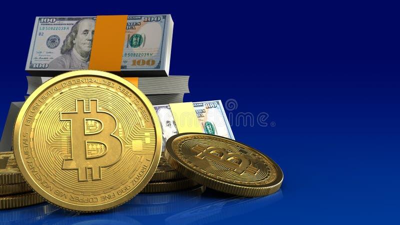 bitcoins 3d ilustração stock