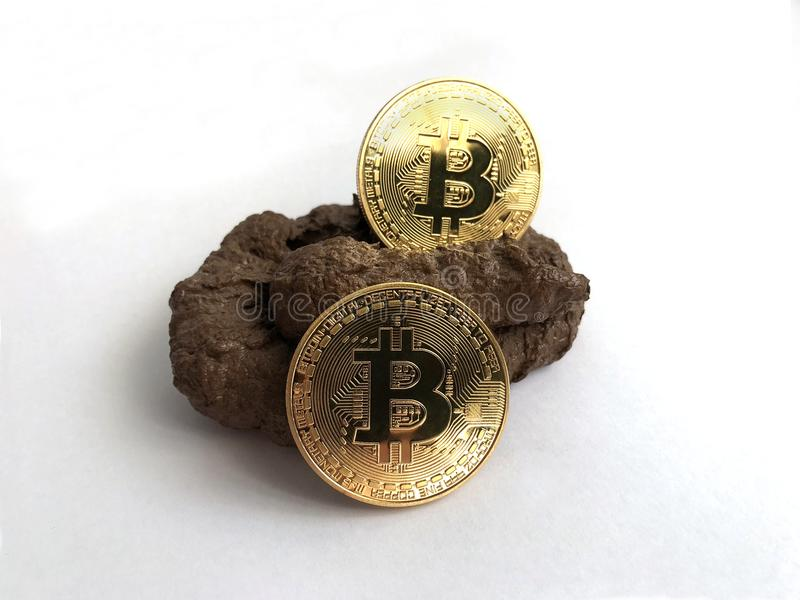 Bitcoins d'or sur un fumier photographie stock libre de droits