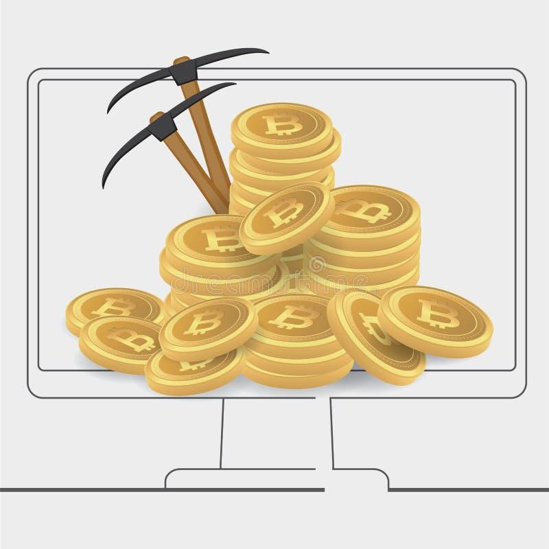 Bitcoins de la explotación minera del carácter del bitcoinsBusinessman de la explotación minera del carácter del hombre de negoci ilustración del vector