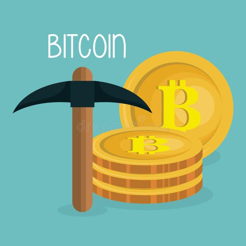 Bitcoins de pile avec la sélection illustration libre de droits