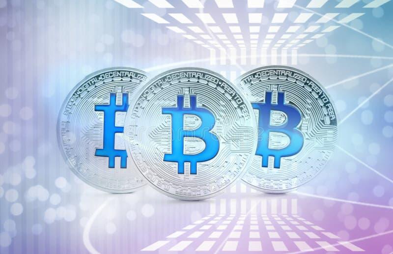 Bitcoins de prata em futurista Conceito de Cryptocurrency imagem de stock royalty free