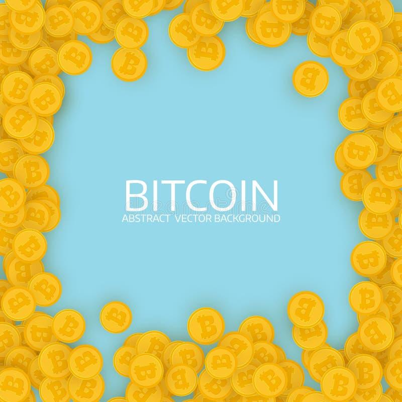 Bitcoins dispersados do ouro Projeto liso ilustração do vetor