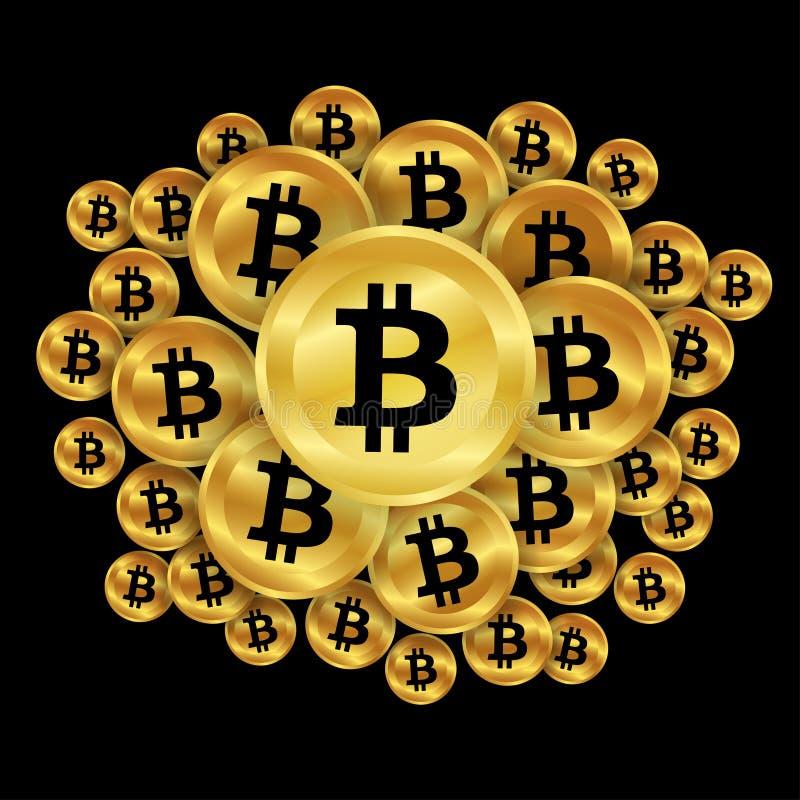 Bitcoins do ouro ilustração do vetor