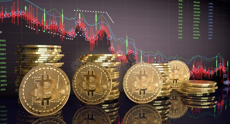 Bitcoins do ouro com carta do gr?fico da vara da vela e fundo digital ilustração do vetor