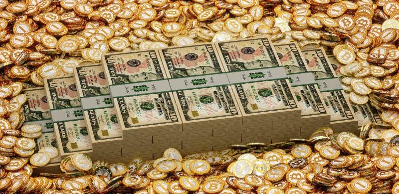 Bitcoins and stacks of 10 Dollar Bills. Bitcoins and 10 Dollar Bill - 3D Rendering royalty free illustration
