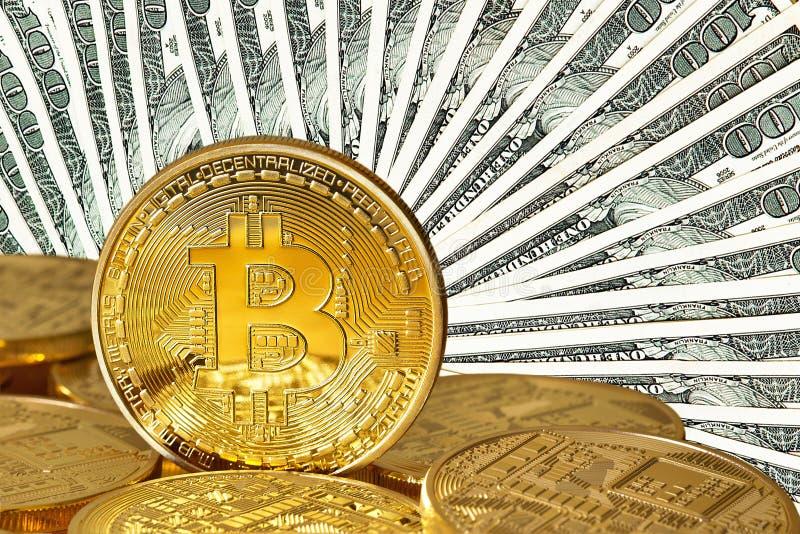 Bitcoins dorato immagini stock