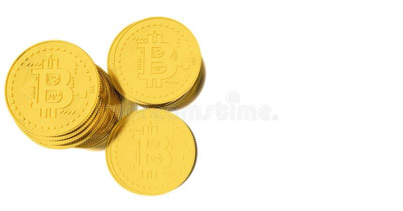 Bitcoins dourados no fundo branco ilustração do vetor