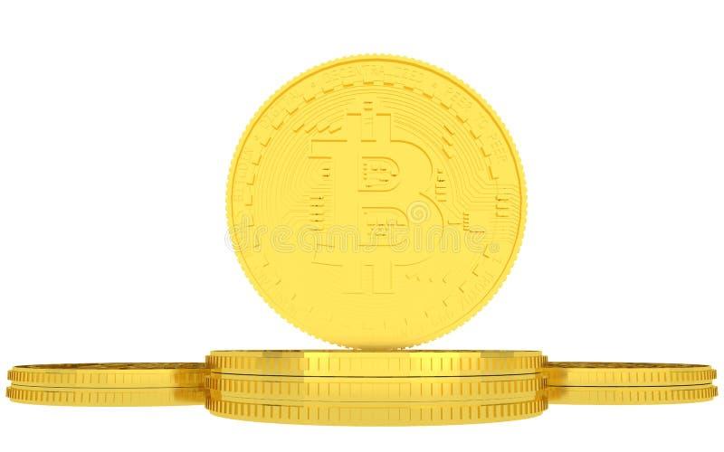 Bitcoins dourados no fundo branco ilustração stock