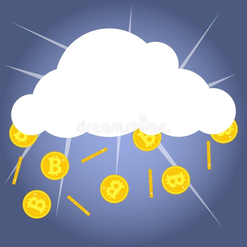 Bitcoins droppe ut ur molnet, guld- mynt av bitcoin på en blå bakgrund royaltyfri illustrationer