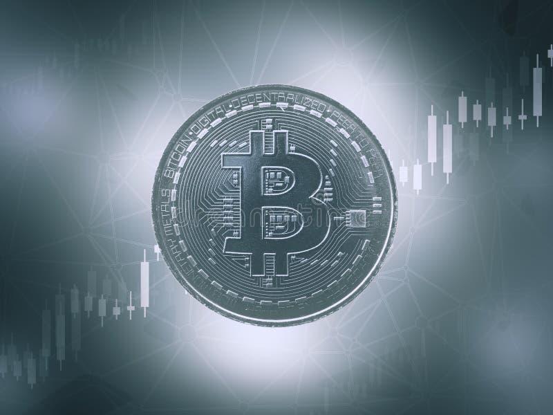 Bitcoins e conceito virtual novo do dinheiro Bitcoin azul fotos de stock royalty free
