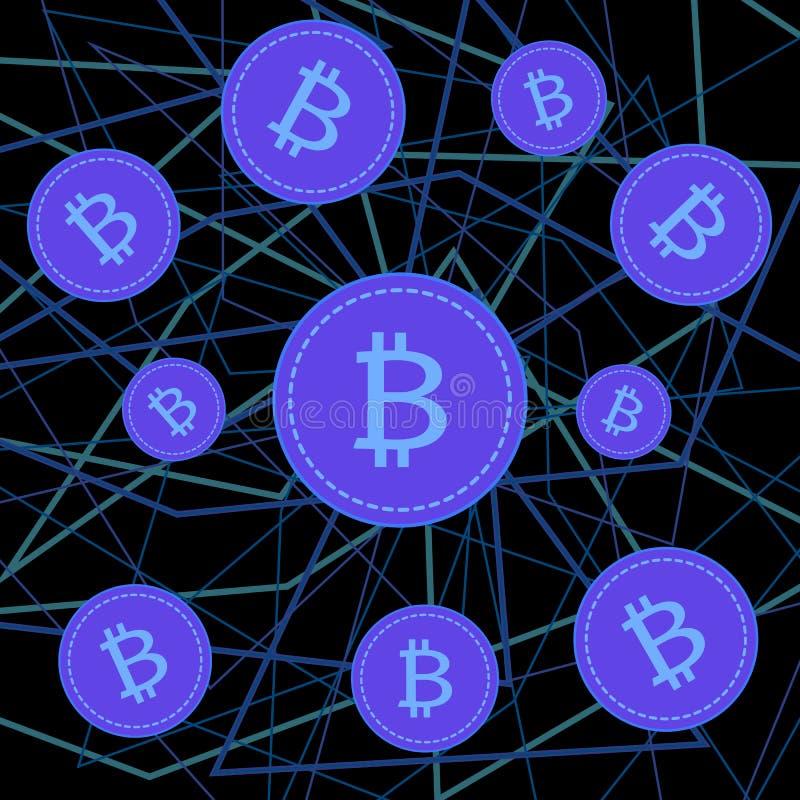 Bitcoins en burbujas de jabón en fondo negro libre illustration