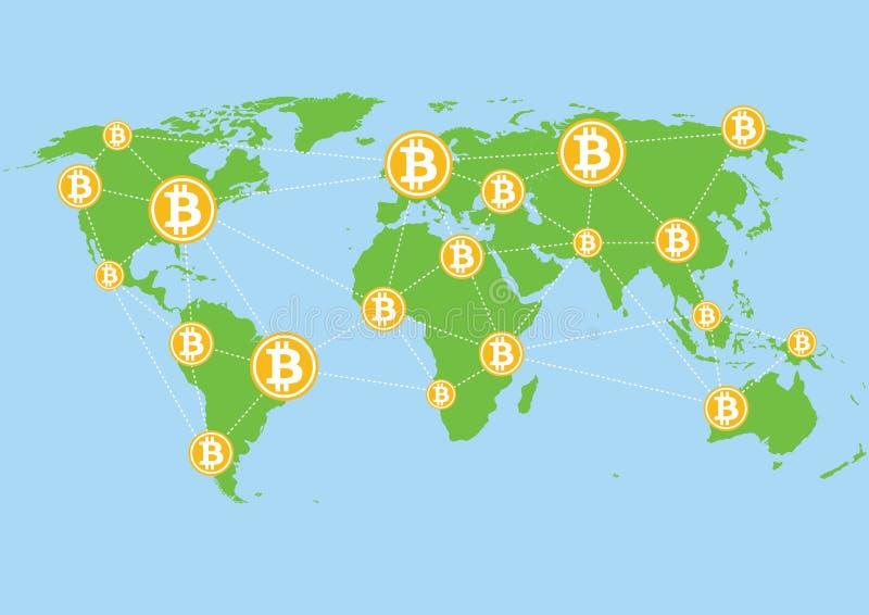 Bitcoins en el ejemplo del mapa del mundo - transferencia monetaria global libre illustration