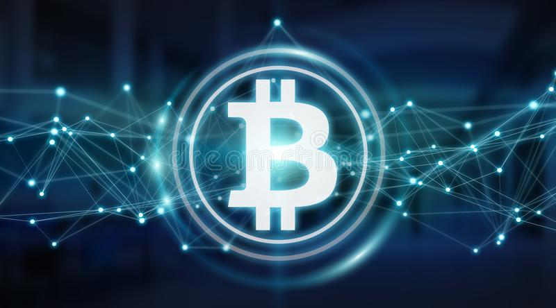 Bitcoins exchanges background 3D rendering. Bitcoins exchanges and connections on server background 3D rendering royalty free illustration
