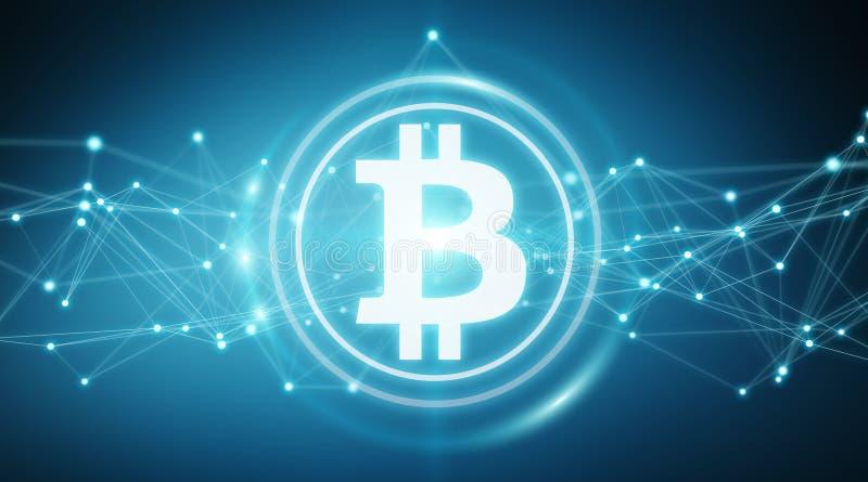 Bitcoins exchanges background 3D rendering. Bitcoins exchanges and connections on blue background 3D rendering stock illustration
