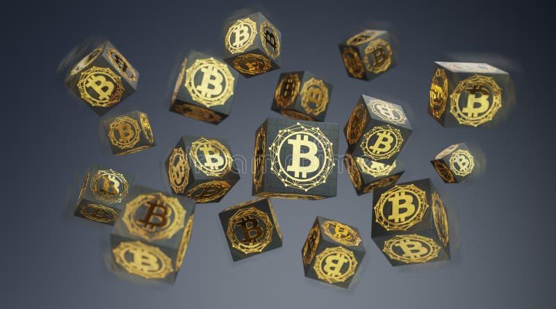 Bitcoins exchanges background 3D rendering vector illustration