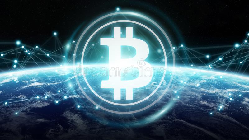 Bitcoins exchanges on planet Earth 3D rendering. Bitcoins exchanges and connections over the globe 3D rendering elements of this image furnished by NASA vector illustration