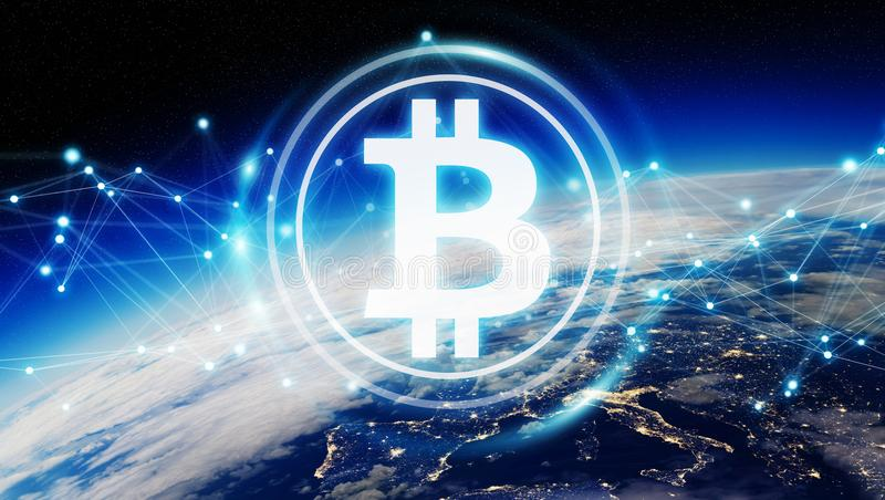 Bitcoins exchanges on planet Earth 3D rendering stock illustration