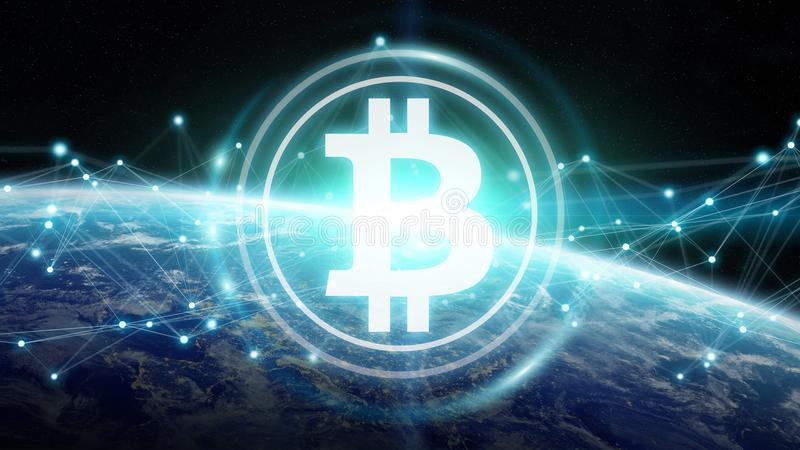 Bitcoins exchanges on planet Earth 3D rendering. Bitcoins exchanges and connections over the globe 3D rendering elements of this image furnished by NASA royalty free illustration