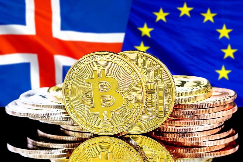 Bitcoins fondo su bandiera di Unione Europea e dell'Islanda fotografia stock libera da diritti
