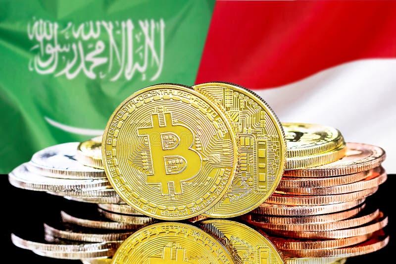 Bitcoins fundo na bandeira de Arábia Saudita e de Mônaco imagem de stock royalty free