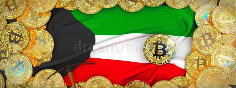 Bitcoins-Gold um Kuwait-Flagge und Hacke auf dem links Kranke 3d lizenzfreie abbildung