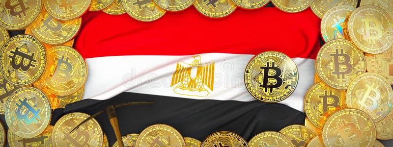 Bitcoins guld runt om den Egypten flaggan och spetshacka på det vänstert illu 3d arkivfoto