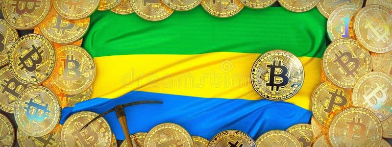 Bitcoins guld runt om den Gabon flaggan och spetshacka på det vänstert illu 3d arkivfoto