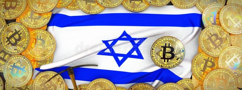 Bitcoins guld runt om den Israel flaggan och spetshacka på det vänstert 3d dåligt arkivfoto