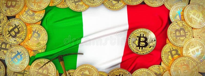 Bitcoins guld runt om den Italien flaggan och spetshacka på det vänstert illu 3d royaltyfri fotografi