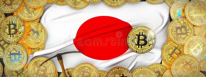 Bitcoins guld runt om den Japan flaggan och spetshacka på det vänstert illu 3d arkivbilder