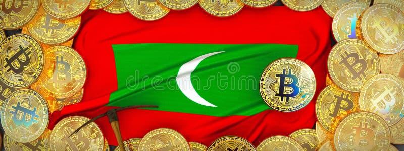 Bitcoins guld runt om den Maldiverna flaggan och spetshacka på det vänstert 3D mig fotografering för bildbyråer