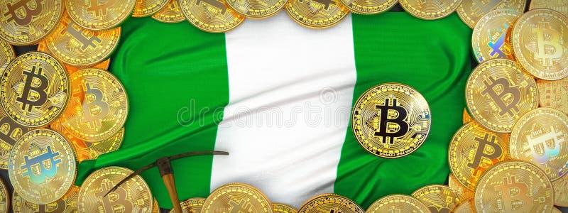 Bitcoins guld runt om den Nigeria flaggan och spetshacka på det vänstert 3d il arkivfoton