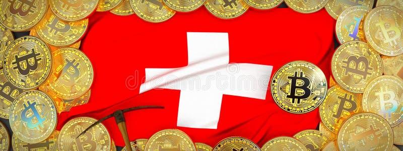 Bitcoins guld runt om den Schweiz flaggan och spetshacka på det vänstert 3 arkivfoton