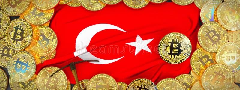 Bitcoins guld runt om den Turkiet flaggan och spetshacka på det vänstert 3d dåligt royaltyfria bilder