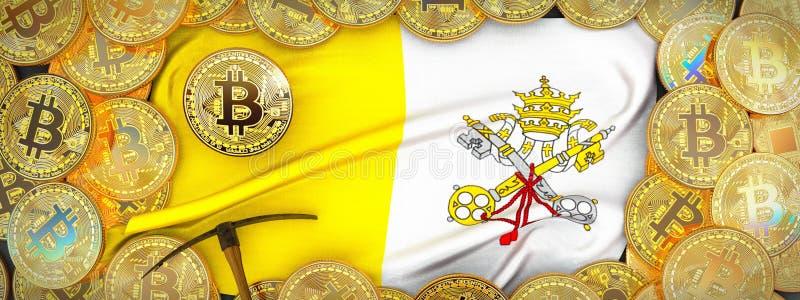 Bitcoins guld runt om flagga och spetshacka på det vänstert illustrati 3d royaltyfri bild