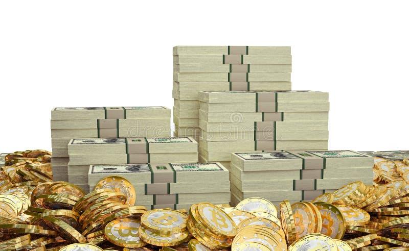 Bitcoins i dolary ilustracji