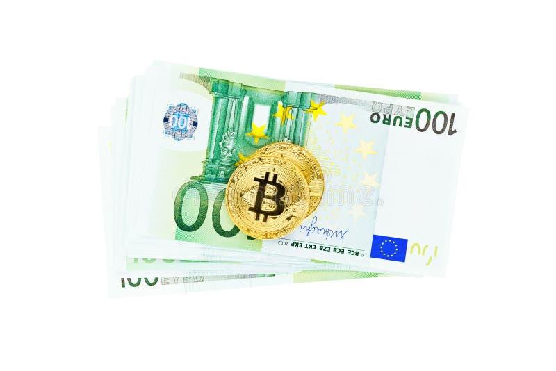 Bitcoins i Euro banknoty obrazy royalty free